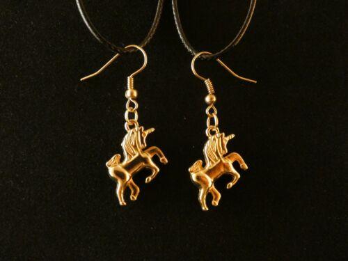 Einhorn Ohrringe 24 Karat Vergoldet Pferd Fabel Horst Filly Tier Gold Hänger