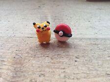 Stud Earrings Pokemon Ball And Pikachu Handmade Cute Pair Nickel Free New