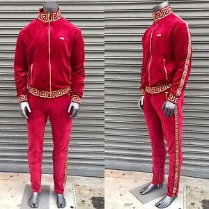 Men-039-s-Burgundy-Gold-Velour-Fashion-Tracksuit