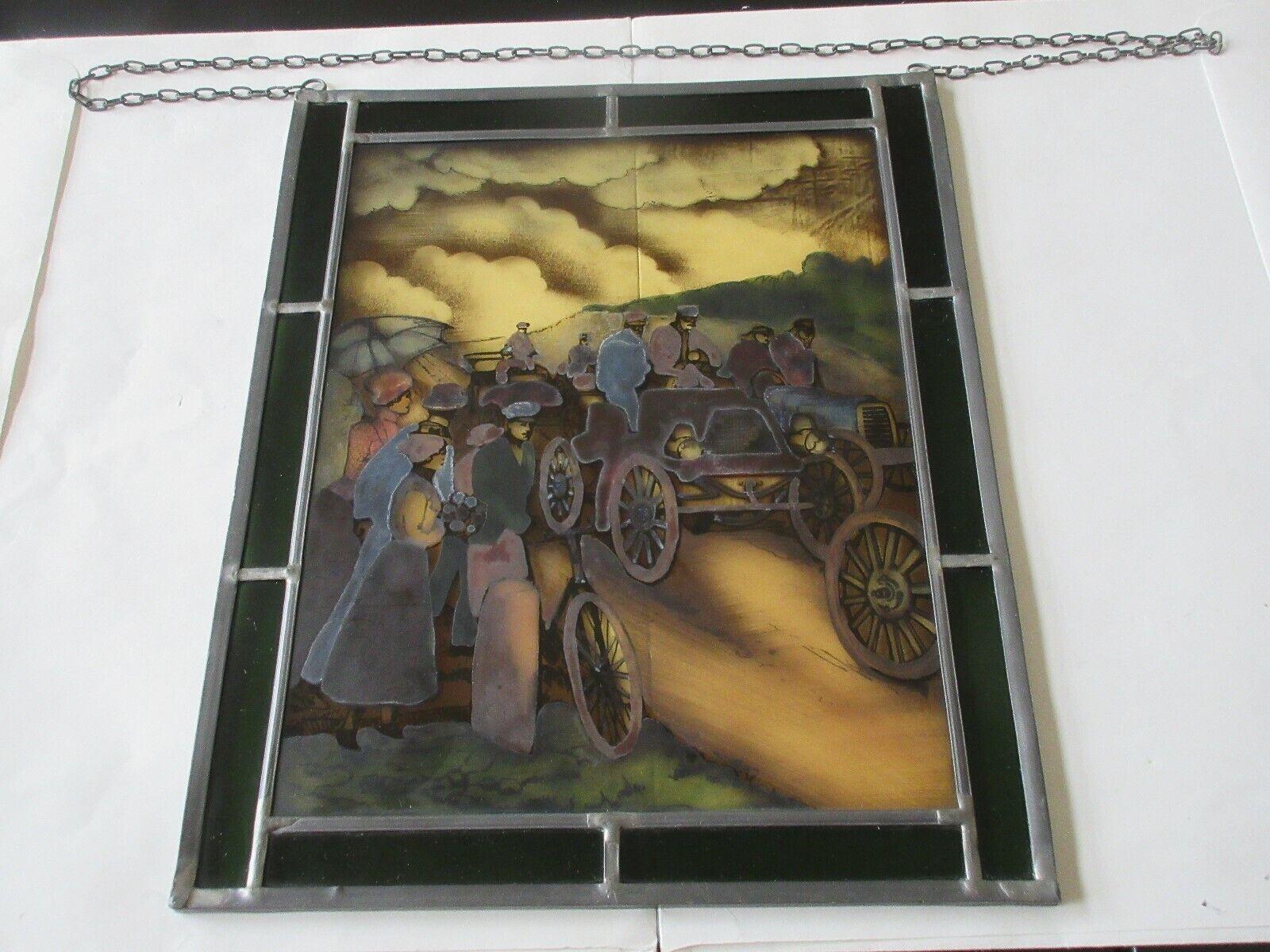 "Bernhardt Stained Glass , 11"" X 9"" , Antique , Automoti"