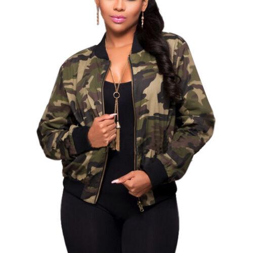 Lady Jacket Short Coat Blazer Womens Tops Outwear Camouflage Bomber Zip Up Camo