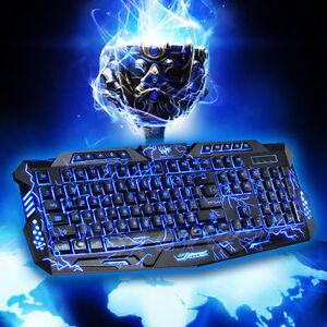 3-Colors-Illuminated-LED-Backlight-USB-Wired-Multimedia-PC-Gaming-Keyboard-CA