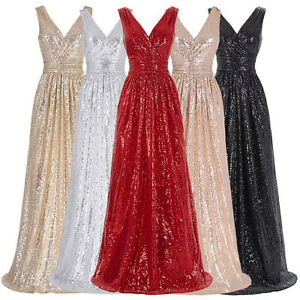 V-NECK-Long-Sequin-GLITTER-Evening-Party-Dress-Formal-Prom-Bridesmaid-Gown-Women