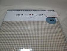 New Tommy Hilfiger Beige & White Plaid Check Twin Sheet Set NIP