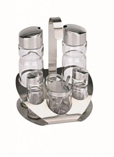 Senf Salz /& Pfeffer Essig /& Öl Menage 6-teilig Glas für Zahnstocher