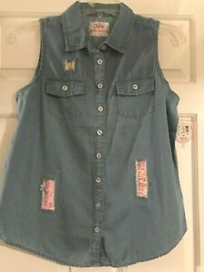 NWT Girls Justice Blue Button Down Reversible Sequin Tank Top
