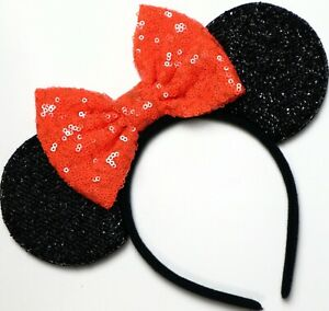 Halloween Mickey Minnie Mouse Sequin Ears Orange Black Purple Mouse Sequin Halloween Ears Orange mouse Ears  Not so Scary Mouse Ears