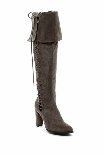 Catherine Malandrino Clydese Grau Faux Fur-Lined Stiefel Größe 6.5