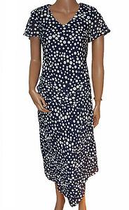 C006 - Ladies 2pc Blue Polka Dot Skirt & Top Wedding Set - UK 10 - 14