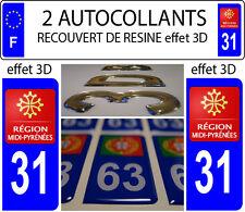 2 stickers plaque immatriculation auto TUNING DOMING RESINE MIDI PYRENEES DEP 31