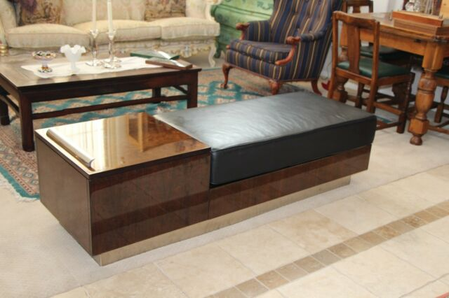 Vintage Contemporary Genuine Leather Flip Top Storage Bench Seat Low Couch