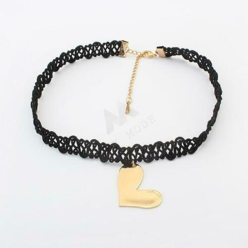 Heart Choker Necklace Fashion Design Summer Free UK Delivery Laced Black MYMODE