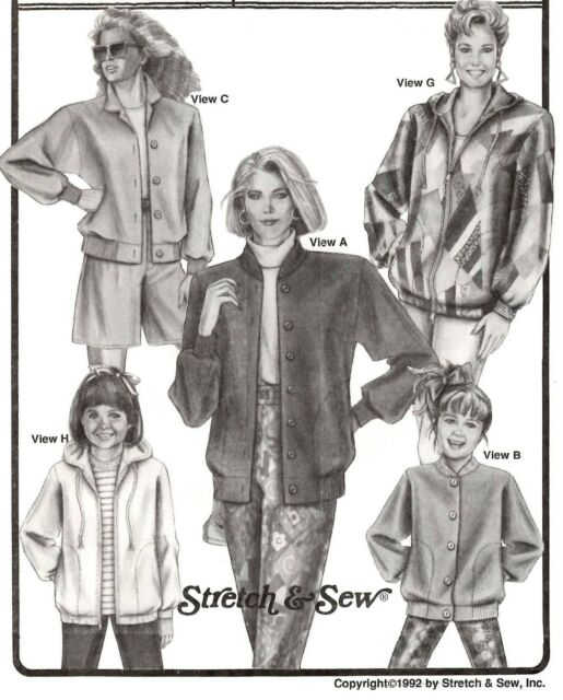 Stretch & Sew 1069 Baseball Jackets Sizes 30-46 EX Cond Pattern ...