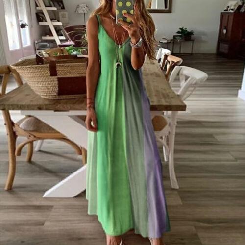 Summer Women Long Maxi Dress Sleeveless Sundress Fashion Boho V Neck Beach Dress