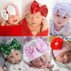 95232b47b Details about Baby Newborn Boys Girs Hat Sequin Bow Striped Knit Cap  Photography Hat