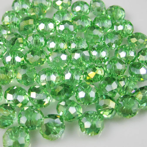 70pcs 6*8mm grass green crystal section loose beads  AB