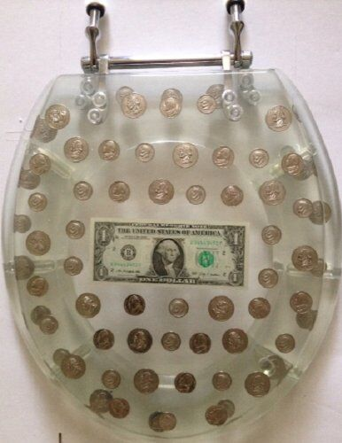 Enjoyable Resin Toilet Seat Big Money Dollar Coins Standard Round Chrome Hinge Evergreenethics Interior Chair Design Evergreenethicsorg