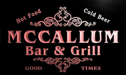 u29136-r MCCALLUM Family Name Bar /& Grill Home Beer Food Neon Sign