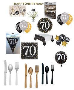 Détails Sur 70ème Anniversaire Noir Argent Or Décoration De Fête Ballons Vaisselle âge 70