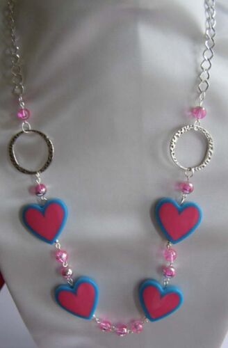 """Pink acrylic//Glass heart beaded long necklace 38/"""" silver plated connector rings"""