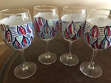 Set of 4 Lilly Pulitzer Inspired Red Right Return Hand Painted Wine Glasses