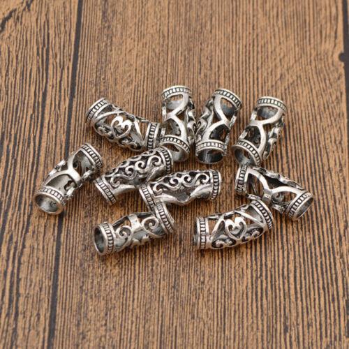 10pcs Ruban Cheveux Tressage Dread dreadlock Beads Cuff Clip Metal Hollow Out