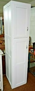 Tall-Chimney-Pantry-Cupboard-Painted-White-Panel-Sides-2-Door-Vintage