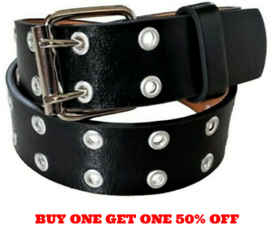 Men/'s Women/'s Leather Two Rows Silver Grommet Double Holes Black Belt All Sizes