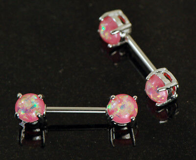14Kt Opal Purple Rose Gold Plated Over 316L Surgical Steel Nipple Barbell w// Opal Prong Set Front Facing Ends