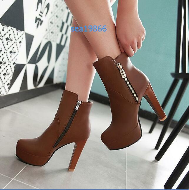 New Womens Sexy Ankle High Heels Platform Round Toe Zipper Faux Leather Boot