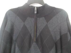 NWT  $150.00 Daniel Cremieux Men's Sweater 1/4 Zip Black/Charcoal Size XL..NEW