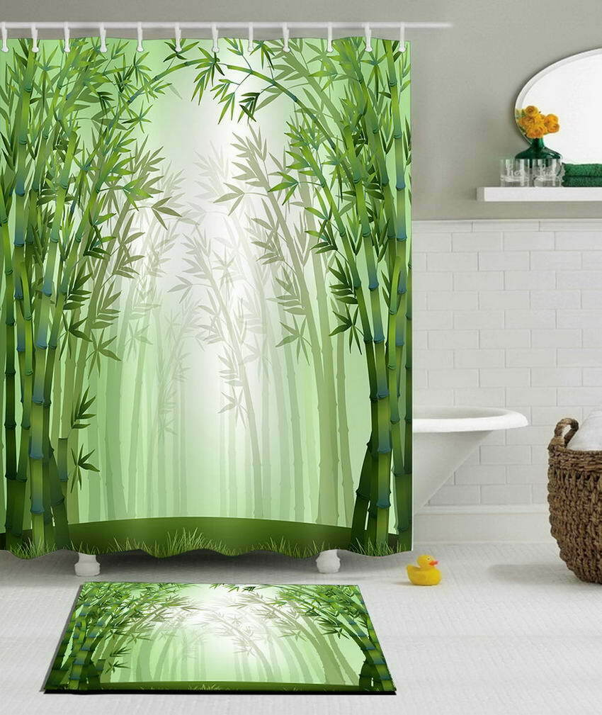 Bamboo Road Waterproof Bathroom Polyester Shower Curtain Liner Water Resistant 4d9566