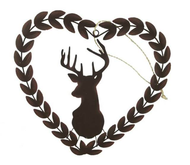Shoeless Joe Rustic Stags Head Heart Wreath - Christmas Decortaion / Gift women