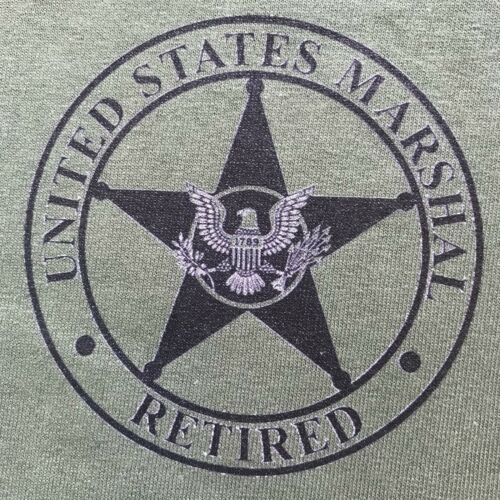 USMS United States Marshals Service RETIRED OD Green Short Sleeve MORALE T-Shirt