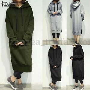 a68fe6d3583 ZANZEA Women s Long Sleeve Loose Casual Plus Sweatshirt Hoodies Long ...