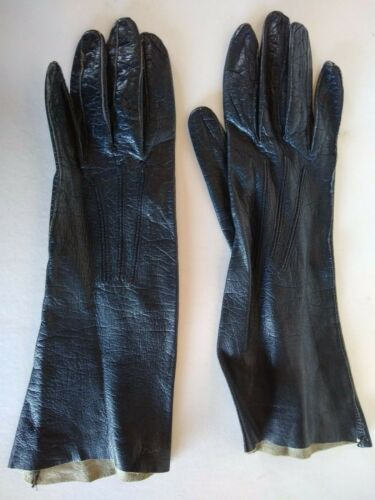 VINTAGE LEATHER GLOVES  Black Leather Driving Gloves  Mid Arm Unlined Gloves  Size 6-6.5