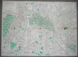PARIS - MAP - AUGUST 1955 - ANTIQUE - COLOR STREET MAP - FRANCE ...