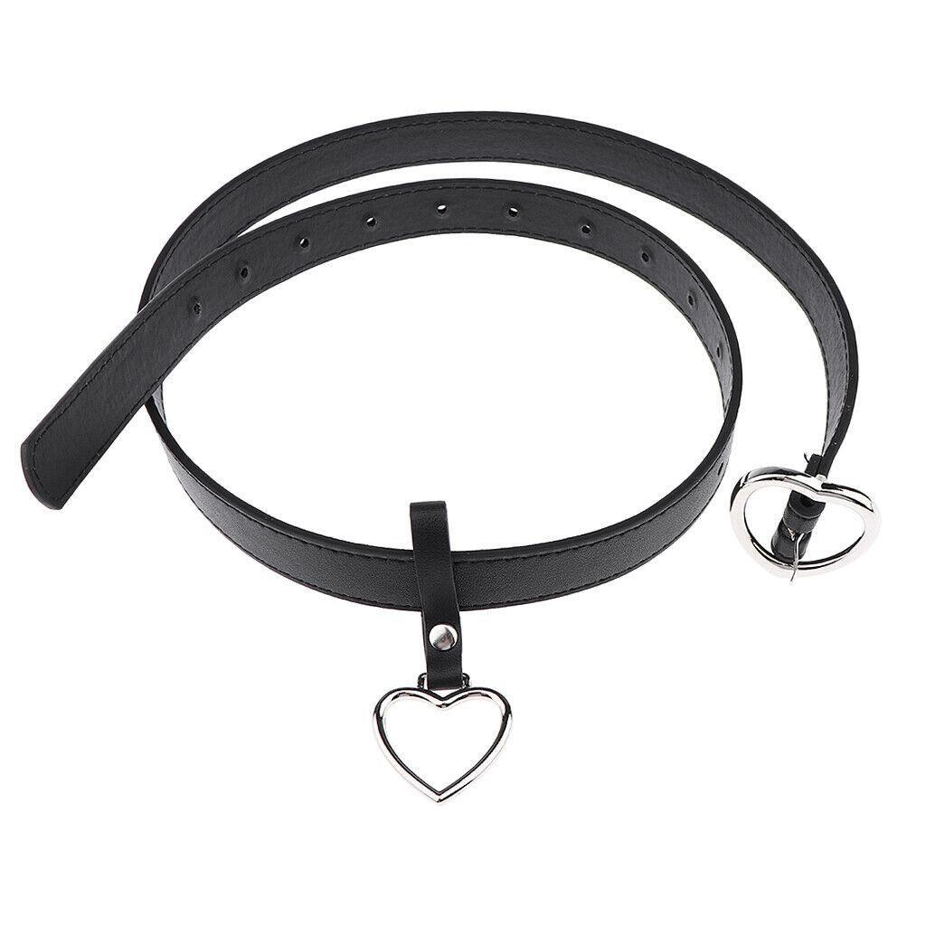 Women Lady Metal Heart-shaped Belt Big Ring Jeans Dress Waist Belt Heart