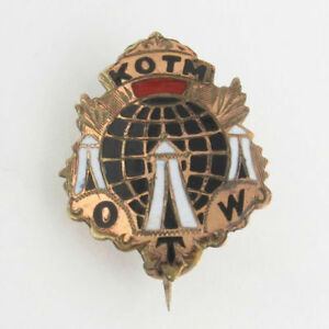 Knights-of-the-Maccabees-Pin-Vintage-KOTM-Tent-OTW-Member-Collectible-Globe