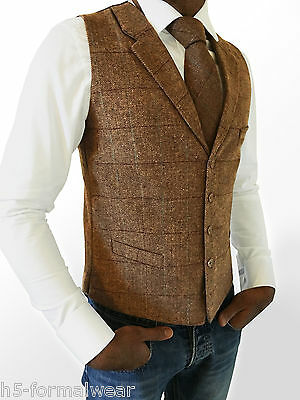 100% Wahr Mens Wool Blend Tweed Brown Tailored Fit Herringbone Check Lapel Waistcoat/vest Fein Verarbeitet