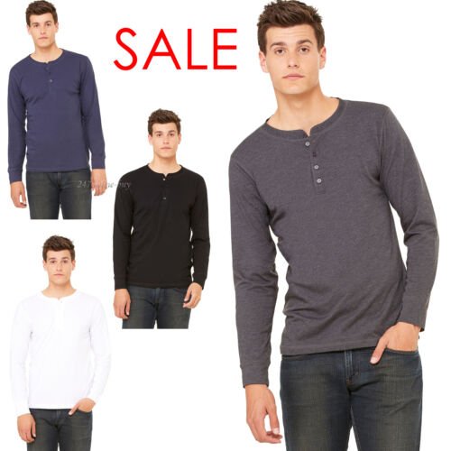 Canvas Henley Mens Long Sleeve Cotton Jersey T-Shirt Bella Canvas 3150