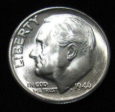 1946 S Silver Roosevelt Dime BU  Brilliant Uncirculated Full Split Bands FSB