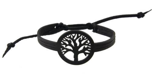 bijou ethnique noir  BB 21039 C7 Bracelet cuir Arbre de vie Homme Femme