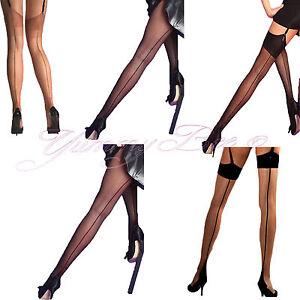 c7da2fe2f81fa Yummy Bee Silky Sheer Back Seam Stockings Tights Pantyhose Nude Plus ...