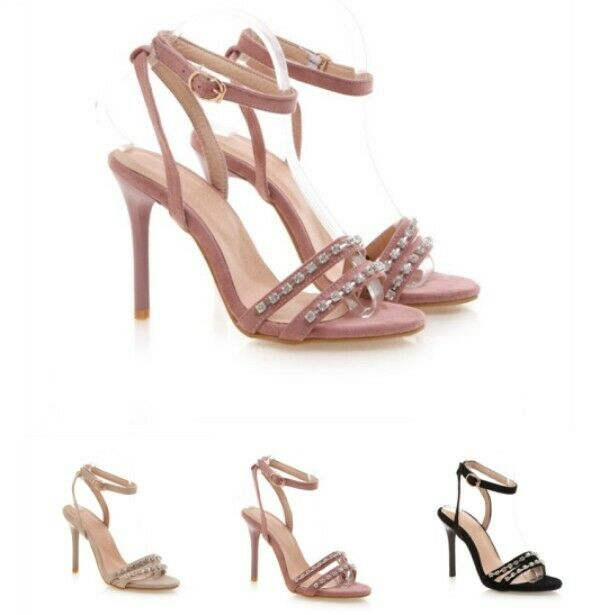 Rhinestones Decor Cut Out Ankle Strap Slingbacks High Stiletto Heel donna scarpe