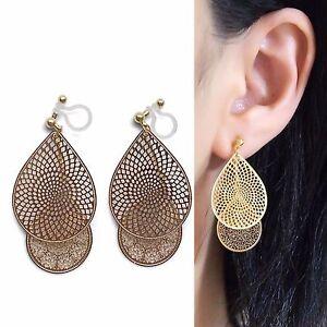 Dangle-Teardrop-Lace-Invisible-Clip-On-Earrings-Gold-Filigree-Clip-On-Earrings