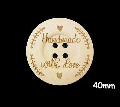 5 Large Coconut Wooden Handmade With Love Buttons 2 Hole 30mm Sewing UK SELLER
