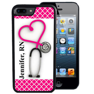 Personalized-Rubber-Case-fit-iPhone-Xr-Xs-X-Max-8-7-6-Plus-Stethoscope-Nurse-RN