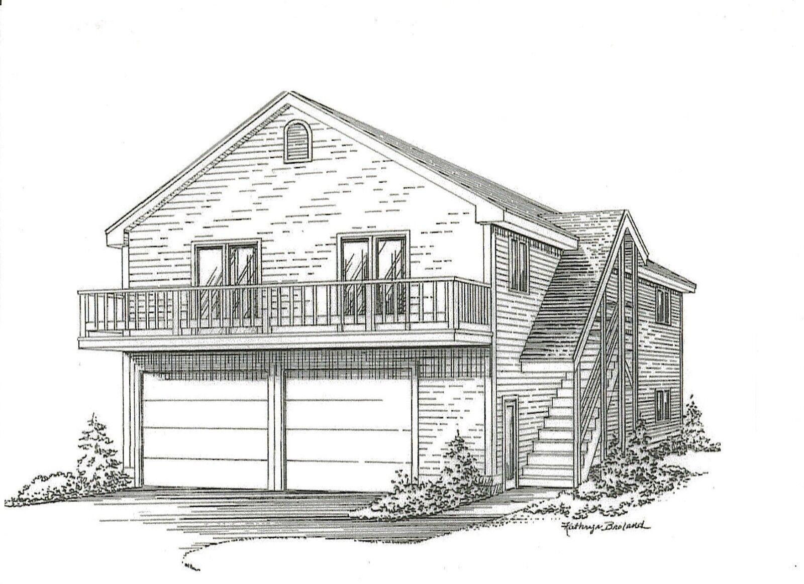 28 x 36 2 Car Garage Building Plans w  2nd Floor Open Loft Area & Exterior Stair