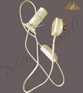 UK Salt Lamp Replacement Electrical Lamp Light Fittings 2 Metal Clip Spare Cable